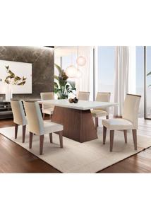 Conjunto De Mesa De Jantar Luna Com 6 Cadeiras Estofadas Lunara Ii Veludo Off White E Creme