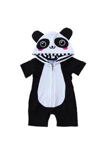 Macacão Feminino Curto Isabb Panda Branco E Preto