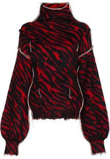 Unravel Project Suéter Com Estampa De Zebra E Efeito Puído - Preto