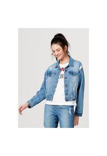 Jaqueta Hering Em Jeans De Algodão Com Bolso Azul