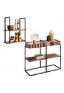 Aparador Decorativo Espelhado Com Prateleira Multiuso Industrial D01 Design Demolição - Lyam Decor