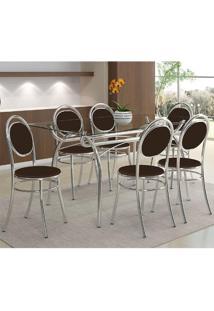 Mesa 379 Com Vidro Incolor Cromada Com 6 Cadeiras 190 Cacau Carraro