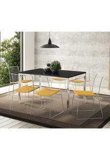 Mesa 1526 Preta Cromada Com 6 Cadeiras 1712 Amarela Carraro