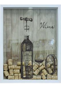 Quadro Porta Rolhas 32X42X4Cm Wine Garrafa Branco