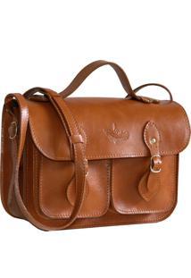 Bolsa Line Store Leather Satchel Pequena Pockets Couro Whisky Rãºstico. - Marrom - Feminino - Dafiti