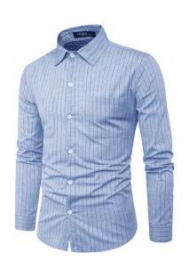 Camisa Masculina Listras Finas Manga Longa - Azul