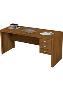 Mesa Para Escritório Me4113 3 Gavetas Amêndoa - Tecno Mobili
