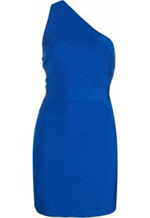 Hervé Léger Vestido Icon Ombro Único - Azul