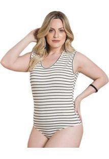Body Beline Plus Size Listrado Sem Mangas Quintess - Feminino-Branco