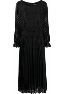 Emporio Armani Vestido De Poás Com Pregas - Preto