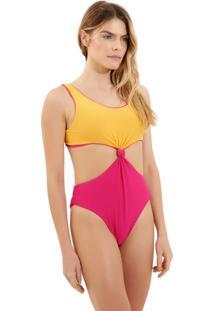 Body Rosa Chá Canel Canelado Bicolor Dupla Face Beachwear Amarelo Rosa Feminino (Amarelo/Rosa, Pp)
