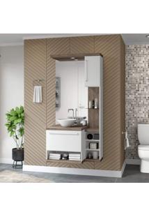 Gabinete Para Banheiro Sem Cuba Com Espelheira Arezzo Siena Móveis Champagne/Branco