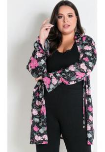 Cardigan Floral Com Amarração Plus Size