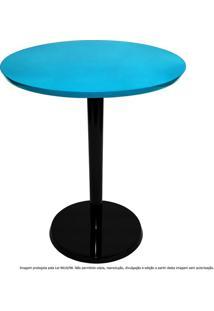 Mesa Lateral De Canto Decorativa Monopé Laqueada Preta E Azul Turquesa