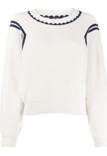 Twin-Set Suéter Canelado Com Detalhe De Listra - Branco