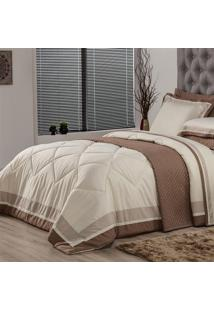 Edredom Solteiro Plumasul Soft Comfort 160X220Cm Microfibra Bege