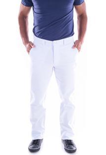 Calça 2839 Sarja Branca Traymon Modelagem Regular