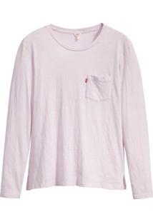 Camiseta Levis Feminina Perfect Long Sleeve Crew Pocket Roxa Roxo