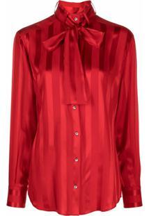 Dolce & Gabbana Blusa Com Listras E Aplicação De Laço Na Gola - Vermelho