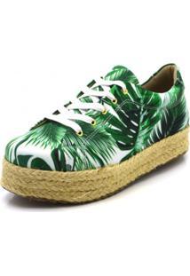 Tênis Flor Da Pele Flat Tropical Verde