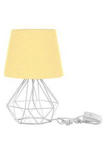 Abajur Diamante Dome Amarelo/Bolinha Com Aramado Branco