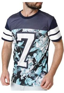 Camiseta Manga Curta Masculina Federal Art Azul Marinho