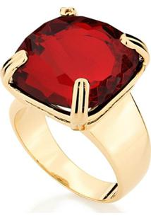 Anel Dourado Com Pedra Rommanel - Feminino-Vermelho