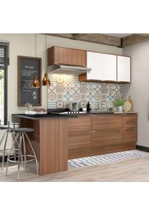 Cozinha Compacta 7 Portas 4 Gavetas 5455R Nogueira/Branco - Multimóveis
