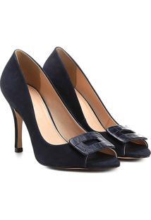 297b770ad Peep Toe Couro Shoestock Fivela Forrada - Feminino-Marinho