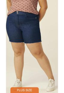 Bermuda Azul Escuro Comfort Jeans Feminina Plus