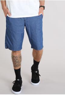 Bermuda Jeans Masculina Com Cordão E Bolsos Azul Escuro