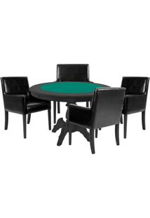 Mesa De Jogos Carteado Redonda Montreal Tampo Reversível Preto Com 4 Cadeiras Liverpool Corino Preto Liso - Gran Belo