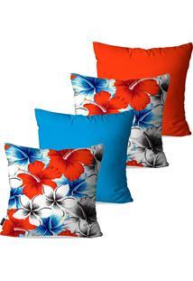 Kit Com 4 Capas Para Almofadas Pump Up Decorativas Azul Flores 45X45Cm