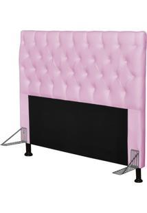 Cabeceira Cama Box Casal 195Cm Cristal Corino Rosa - Js Móveis