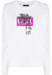 Diesel Suéter Com Gato Bordado - Branco