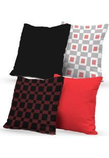 Kit 4 Capas De Almofadas Decorativas Own Geométricas Preta E Vermelha 45X45 - Somente Capa