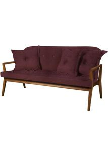 Sofa Siesta Bordo Base E Bracos Madeira Natural 3 Lugares - 50432 - Sun House