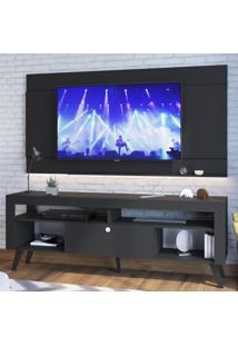 Rack Com Painel Para Tv Até 70 Polegadas 1 Porta Cj023 Preto - Art In Móveis