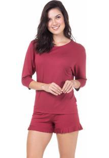 Pijama Curto Babados Homewear Bordô - 589.072 Marcyn Lingerie Short Doll Vermelho