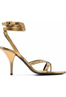 Tom Ford Sandália Com Transpasse E Salto 105Mm - Dourado