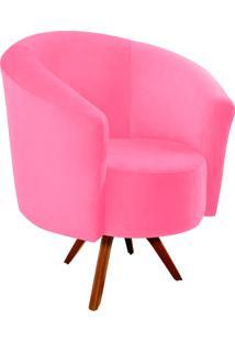 Poltrona Decorativa Angel Suede Rosa Barbie Com Base Giratória Madeira - D'Rossi
