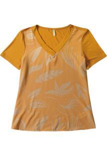 Blusa Decote V Com Estampa Amarelo