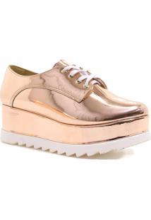 Sapato Oxford Zariff Shoes Flatform Metalizado Dourado