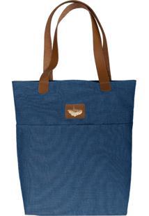 Bolsa Sacola Shopper Tecido Azul Com Detalhes Em Couro - Kanui