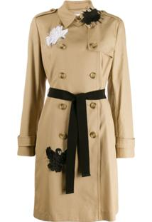 Red Valentino Swan Appliqué Trench Coat - Neutro