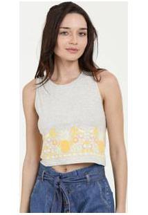 Blusa Feminina Cropped Estampa Floral Sem Manga Marisa