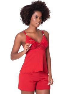 Short Doll Click Chique Alã§A Conforto Busto Rendado Amamentaã§Ã£O Vermelho - Vermelho - Feminino - Dafiti