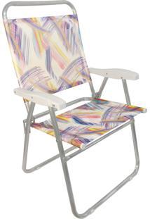 Cadeira Praia Cancun Plus Zaka Alumínio Estampada Até 100 Kg Aquarela