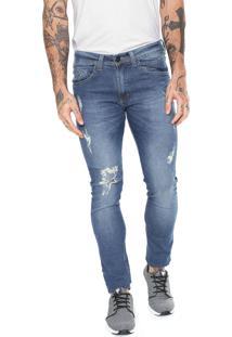 Calça Jeans Hd Slim Destroyed Azul