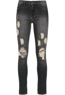 Amapô Calça Jeans Skinny 'Rocker Three' - Preto